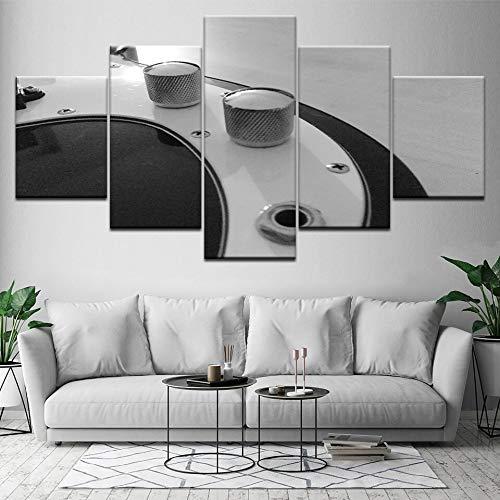 Home Decor Canvas woonkamer HD druk Modern 5 planken gitaar muziek bord afbeelding schilderij muurkunst modulair L-30x40 30x60 30x80cm Frameloos.