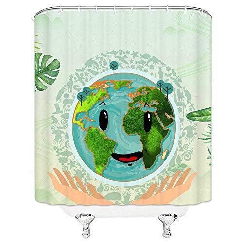 Fashion Novel Schutz der ökologischen Umwelt der Erde Muster hängen Duschvorhang wasserdicht Mehltau Polyester Stoff-180 cm x 240 cm