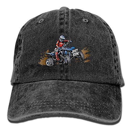 Hoswee Unisexo Gorras de béisbol/Sombrero, Just Ride Off-Road Quad Denim Hat Adjustable Women