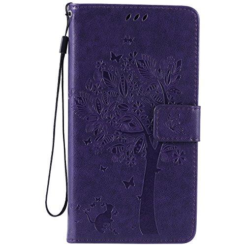 NEXCURIO [Embossed Tree] LG V10 Wallet Case with Card Holder Folding Kickstand Leather Case Flip Cover for LG V10 (Purple)