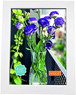WRIOP 4x6 Picture Frame Solid Wood Photo Frames for Tabletop Display and Wall Decoration (White)