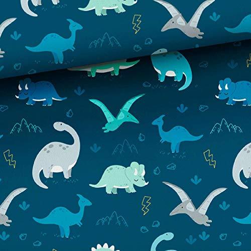 1m Tiere Baumwollstoff mit Dinos auf navy   keine Meterware   Kinderstoff