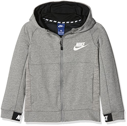 Nike Jungen Langarm Oberteil Mit Kapuze Full-Zip Sportswear Full Zip Advance 15, Dark Grey Heather/Black/White, S, 856185-063