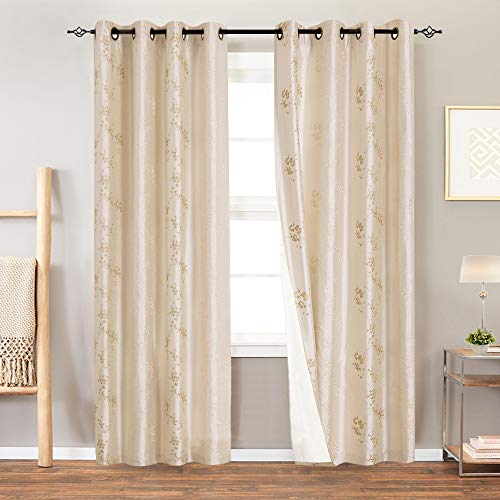 Lined Luxury Faux Silk Floral Embroidered Grommet Top Curtains for Bedroom 84 inches Long Embroidery Curtain for Living Room, 2 Panels, Light Golden