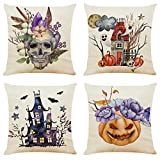 """Ogrmar 4PCS 18""""x18"""" Throw Pillow Covers Halloween Decorative Couch Pillow Cases Cotton Linen Pillow Square Cushion Cover for Sofa, Couch, Bed and Car (Halloween B)"""