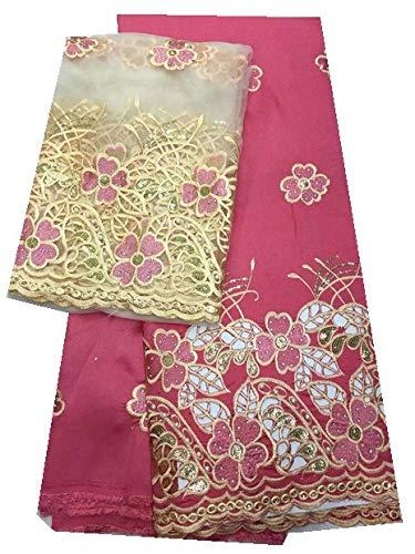 Afrikaanse Lace met Net Lace Fabric met Bead en Stone George Lace met Blouse for de jurk (Color : Rose red, Size : 5+2 yards)