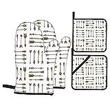 Juego de 4 manoplas para horno y soportes para ollas,diseño de flechas bohemias de estilo vintage con elementos tradicionales,guantes de barbacoa con forro acolchado,