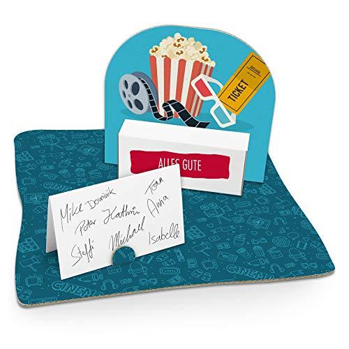 itenga Kinokarte Popcorn Geldgeschenk Gastgeschenk Verpackung Gutschein mit Bodenplatte, Geschenkkarte und Stickerbogen