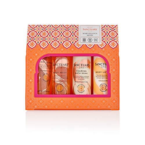 Sanctuary Spa Coffret cadeau de voyage Merveilleux Minis avec gel douche, bain moussant, lotion pour le corps et gommage pour le corps, végétalien, cadeau pour elle, cadeau pour femme, anniversaire