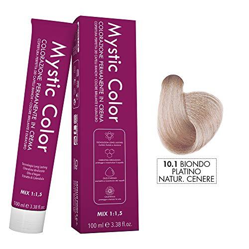 Mystic Color - Coloración Permanente en Crema con Aceite de Argán y Caléndula - Tinte de Larga Duración - Color Rubio Ceniza Platino Natural 10.1 - 100ml