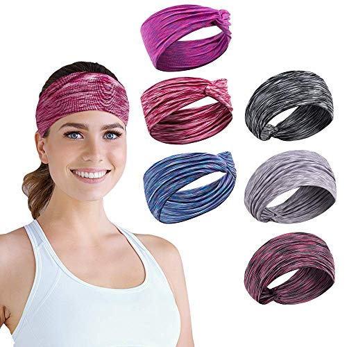 Headbands for Women,6 Pack Yoga Sports Headbands, Non Slip Sweat Elastic Head Wrap Hair Bands for Running, Cross Training, Yoga and Bike Helmet Friendly