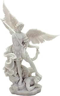 White Archangel St Michael Statue - H: 10 inch - Archangel of Protection and Justice - Leader of the Seven Archangels
