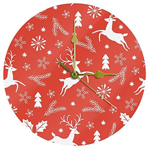 Yoliveya Reloj de pared redondo silencioso naranja con diseño de hojas de alce de ciervos, decorativo y silencioso para regalo, para casa, oficina, cocina, guardería, sala de estar, dormitorio