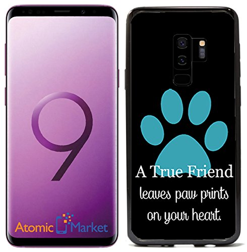 A True Friend Leaves Paw Prints On Your Heart Turquoise for Samsung Galaxy S9 Plus + 2018 Case Cover by Atomic Market