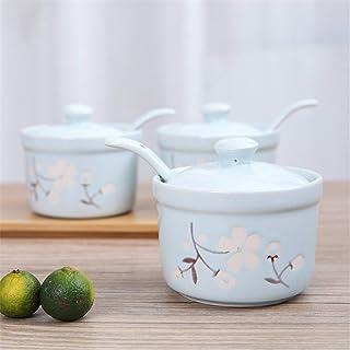 Pots à épices,Boîte d'organisateur de Stockage d'épices, récipient de Condiments Sakura avec Le Couvercle en céramique ass...