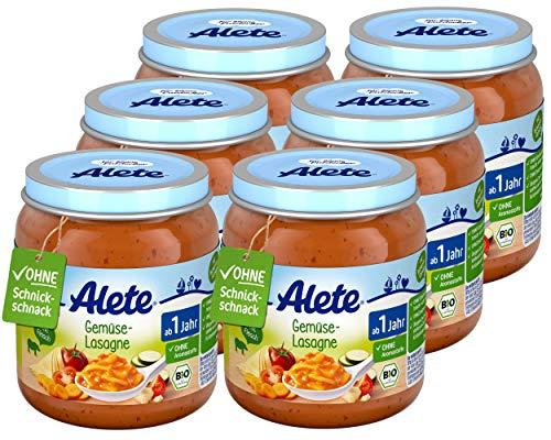Alete Bio Gläschen Gemüse-Lasagne, Babynahrung in Bio-Qualität, ohne Zusatz von Aromastoffen & Zucker, Menü ab 1 Jahr, 6er Pack (6 x 250 g)