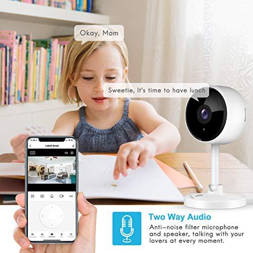 1080P Überwachungskamera, Littlelf 2 Stück WLAN Kamera, Haustier Kamera mit Bewegungsmelder Nachtsicht und 2-Wege Audio, Babyphone mit Kamera unterstützt Fernalarm und Mobile App Kontrolle
