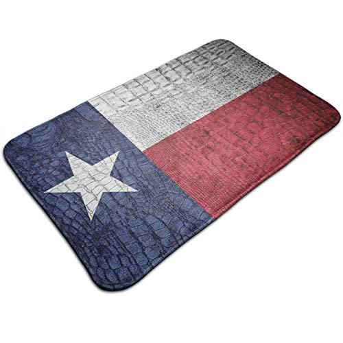 Felpudo de 60 x 40 cm, con la bandera del estado de Texas, pintada en piel de cocodrilo, textura de piel de serpiente, emblema patriótico, lavable a máquina, alfombra absorbente decorativa de baño