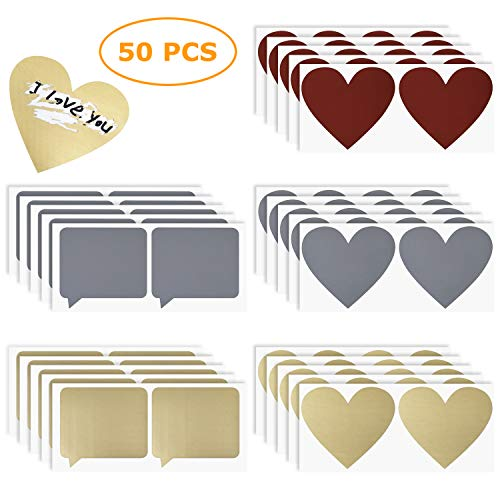 Rubbelsticker etiketten 50 Stück, herzförmige und dialogförmige Scratch Off Aufkleber für Einklebebuchbuch, Postkarte oder Hochzeit