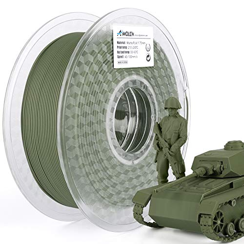 AMOLEN Matte PLA Filament 1.75mm, Oliv Grün 3D Drucker PLA Filament, 3D Druck PLA Material, 1KG +/- 0.03mm