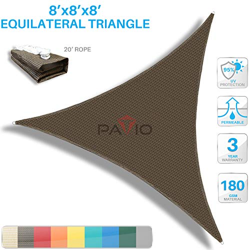 PATIO Paradise 8' x 8' x 8' Brown Sun Shade Sail Triangle Canopy, 180 GSM Permeable Canopy Pergolas Top Cover, Permeable UV Block Fabric Durable Outdoor, Customized Available