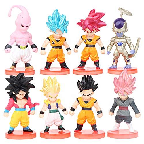 Dragon Ball Cake Topper Pastel Decoración Suministros 8Pcs Goku Figures Dragon Ball Muñeca Hecha a Mano Muñeca Decoración Set para niños