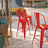 Flash Furniture Commercial Grade 30' High Red Metal Indoor-Outdoor Barstool with Removable Back