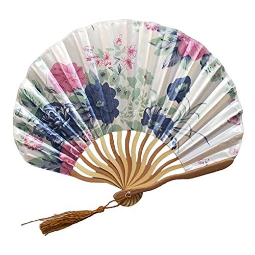 Vouwventilator Handheld Fan Interior Decoration Geschikt voor klassieke bloemen doek bamboe geweven vouwen dans hand fan beige zomer retro bamboe vouwen hand fan (Color : F)