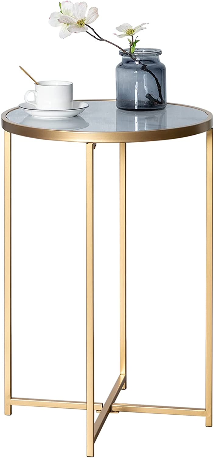 """HollyHOME Round Metal End Table with Marble Texture Sticker, Accent Indoor&Outdoor Coffee Side Table, Anti-rust Tea Table for Living Room, Bedroom, Balcony, Patio, Garden, (D)15.94""""x(H)23.82"""", Gold : Patio, Lawn & Garden"""