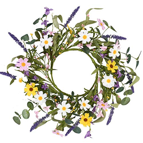 "Mini Flower Wreath,15"" Artificial Spring Wreath Colorful Daisy Lavender Wreath Summer Floral Wreath for Front Door Wall Window and Easter Decor"