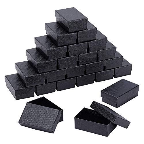 BENECREAT 24 Pack Cajas de Joyería de Cartón Negra con Patrón de Diamantes...