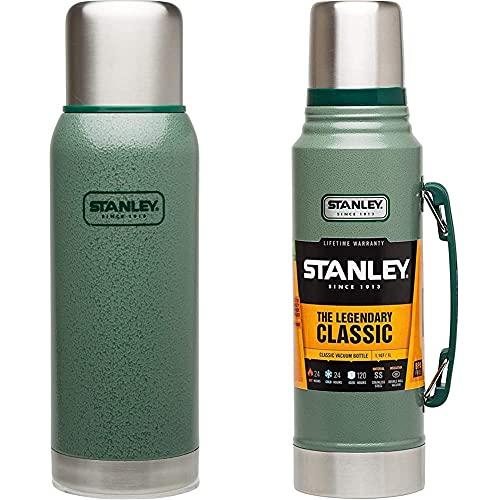 Stanley Termo De La Serie De Aventuras De 1.0 Litros En Color Verde Hammertone Acero Inoxidable Aislamiento De Doble Pared Al Vacío + The Legendary Classic Hammertone