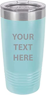 Personalized Add Your Custom Text Insulated Tumbler 20 Oz Coffee Mug Customizable (Light Blue)
