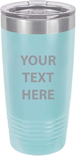 Personalized Add Your Custom Text Insulated Tumbler 20 Oz Coffee Mug Customizable Light Blue