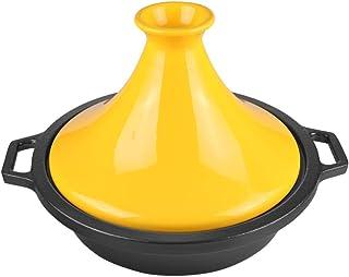 Tajine Marroquí Con Base De Hierro Fundido Y Tapa De CeráMica Ø 27cm Tagine Para Todos Los Tipos De Encimera Cacerola De CeráMica Estofado Multifuncional Estofado Olla Para Cocina, 2.3 Litros,yellow