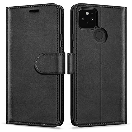 """ykooe Case for Google Pixel 5 (6.0""""), Classic PU Leather Flip Phone Case for Google Pixel 5 5G Card Holder Cover, Black"""
