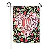 LL-Shop Valentinstag Liebe Herz Blume Baum Sackleinen Garten Flagge doppelseitig, Haus Hof Flaggen, Urlaub saisonale Outdoor dekorative Flagge