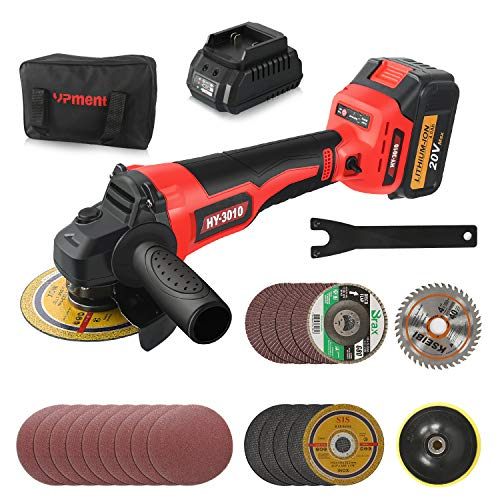 Cordless Brushless Angle Grinder Kit,9800RPM, 4-1/2 Inch,with 20V 4.0Ah Lithium-Ion Battery & Fast Charger, 2-Position Adjustable Auxiliary Handle, Electric Brake, 5 Cutting Wheels, 5 Grinding Wheels