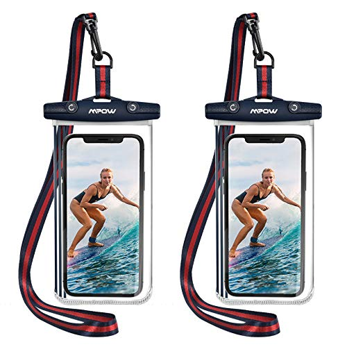 Mpow Upgraded Waterproof Phone Pouch, TPU Cellphone Dry Bag Full Transparent Phone Case Compatible with iPhone 12 Pro Max, 11 Pro Max, XR, X, 7, Pixel 4 XL, Galaxy S20, S10, S9, up to 7 Inches 2-Pack