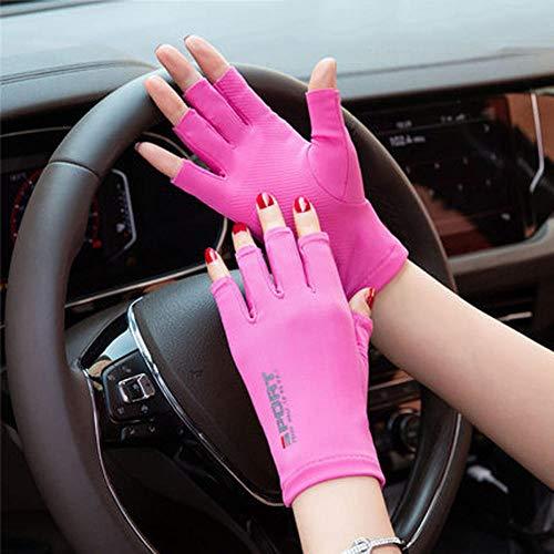 YWXJY Full & Two Fingerless Handschutzhandschuhe von Sun UV Virus Männer Frauen Fahren Fahrradhandschuhe Touchscreen Anti-Rutsch-, hochelastische Eisseidenhandschuhe Fitness-Training