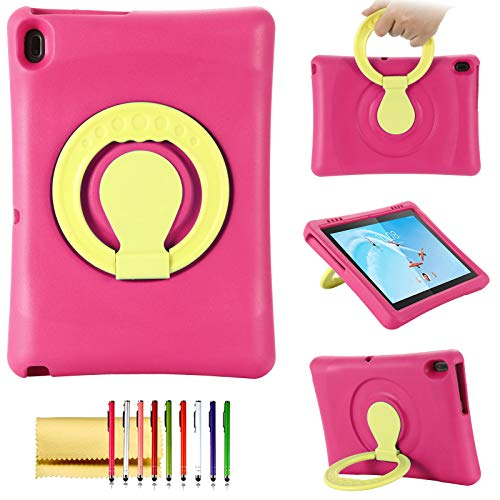 Kids Case for Lenovo Tab E10 10.1-Inch Tablet (2018), Techcircle 360 Rotating Ring Handle Stand Shockproof Light Weight EVA Foam Rugged Protective Drop Protection Child Proof Cover Bumper Case, Rose