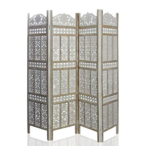 India Overseas Trading Corporation 6 Ft. Large Room Divider 4 Panels Decorative Wooden Screen Folding Privacy Screen, Wood, 72