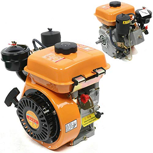Diesel Engine 196CC 4 Stroke Single Cylinder Forced Air Cooling Horizontal Axis Engine Recoil Hand Start 3000RPM 2.2KW, 53mm Shaft Length (Orange)