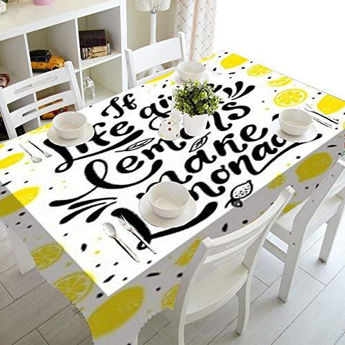 XXDD Mantel Impermeable de limón a Rayas en Blanco y Negro a la Moda para decoración del hogar, Mantel a Prueba de Agua de limón para decoración de Cocina