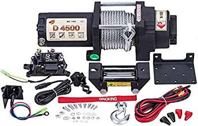 SINOKING 12VDC 4500lb/2041kg,High Speed UTV ATV Winch with 1/4?×32??feet? Wire Rope Electric Winch Kit