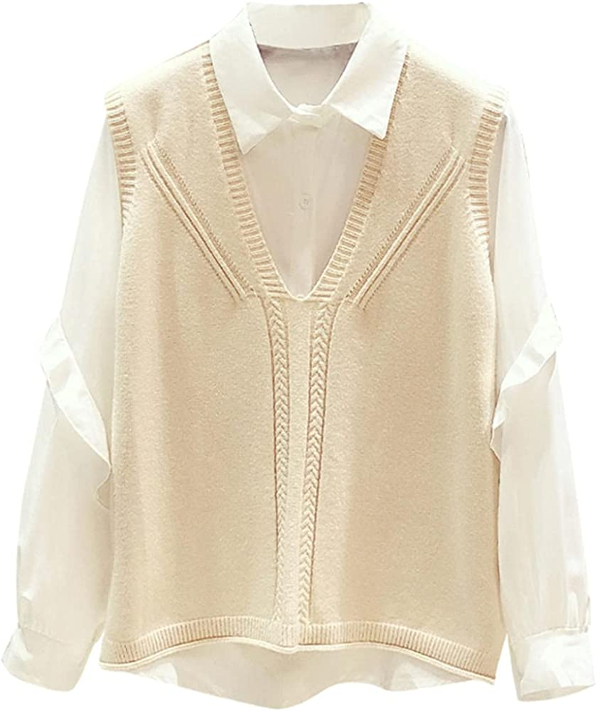 Ladies sweater, simple knitted vest + long-sleeved ruffled white shirt two-piece top, casual stand-up collar loose sweater