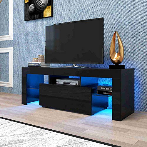 Qinghongkeen Modern Black TV Stand with LED RGB Lights, High Gloss TV Cabinet w/Storage & Drawers. 51 Inch Gaming Entertainment Center Media Storage Console for Living Room Flat Screen TV Cabinet.