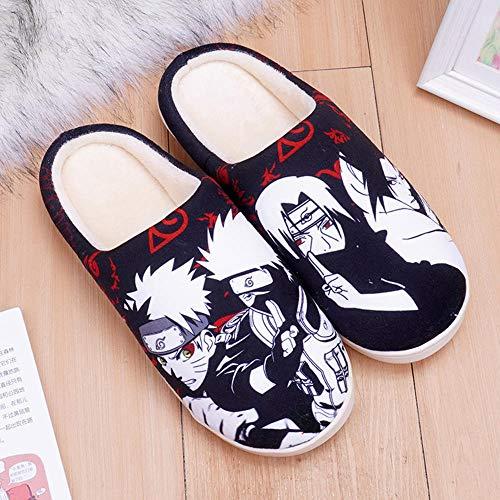 SZXZS Manga Japonais Chaussons Peluche Hommes Femmes Automne et Hiver Pantoufles Coton Chaleur Antidérapante Chaussures de Sol-Naruto_Noir_UK_9-11/EU_44-46(300mm)