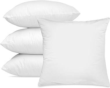 Hannah Linen Throw Pillows - 18 x 18 Pillow Insert Set of 4 - Throw Pillows for Couch & Bed - Soft & Comfortable Squa