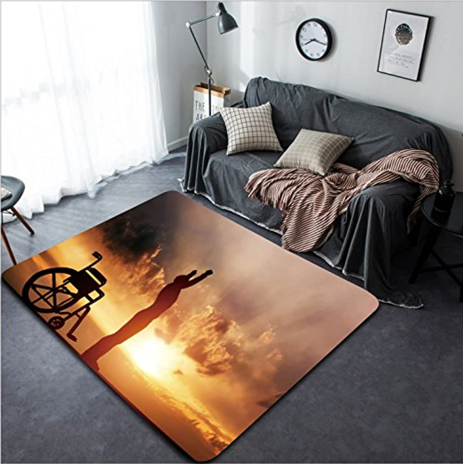 Vanfan Design Home Decorative A Disabled Man Standing up from Wheelchair at Sunset Positive Concept of Cure Recovery Medical Miracle Hope Insurance etc Modern Non-Slip Doormats Carpet for